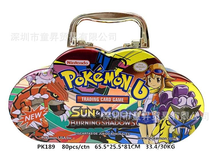 80pcs/set Pokemon Portable Tin Box TAKARA TOMY Battle Toys Hobbies Hobby Collectibles Game Collection Anime Cards For Children