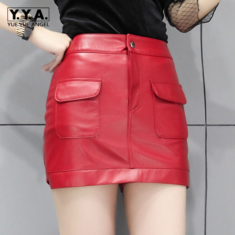 Red Womens Sheepskin Genuine Leather Shorts Skirts Slim Fit Punk Pockets Wrap Short High Quality Leather Motorcyle Shorts Skirts