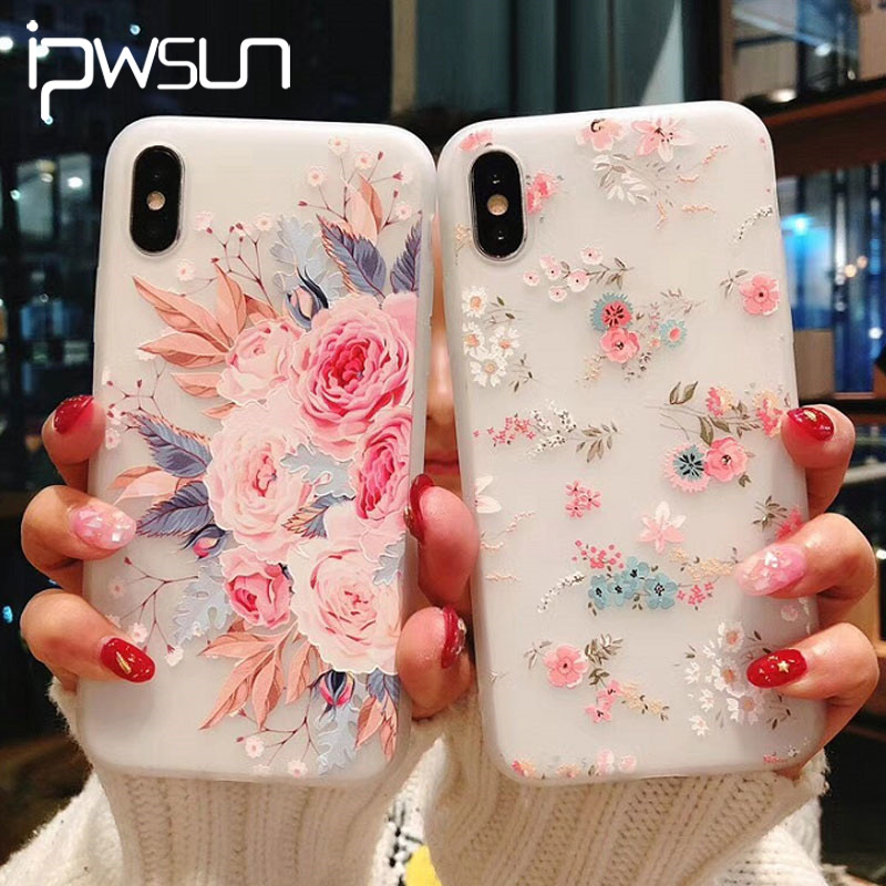 iPWSOO <font><b>3D</b></font> Relief Flower <font><b>Silicone</b></font> Phone <font><b>Case</b></font> For <font><b>iPhone</b></font> 11 Pro Max XR XS <font><b>X</b></font> <font><b>Case</b></font> For <font><b>iPhone</b></font> 7 8 6s 6 Plus Floral Soft TPU Cover image