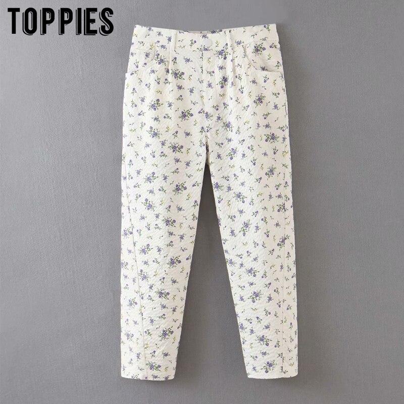 White Sweatpants Women High Waist Joggers Pants Floral Printing Trousers Women Casual Streetwear