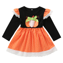 Cute Halloween Costume for Girls Long Sleeves Pumpkin Print Dress Up Cake Smash Fashion Pleated Party
