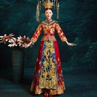 Suzhou Embroidery Overseas Chinese Cheongsam Dragon Phoenix Marrige Suit Dress Set Oriental Qipao Floor Length Tang Clothing