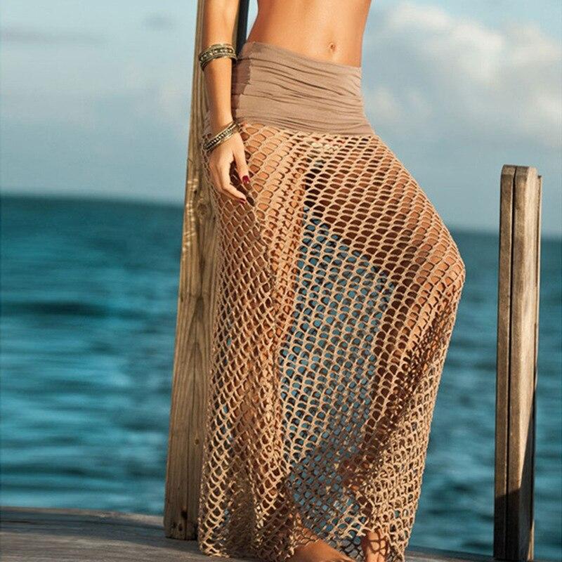 Beach Dress Women Summer Beach Wear  Bikini Cover Up long Hollow Out Half-length Skirt Bohemia Sexy Vestidos