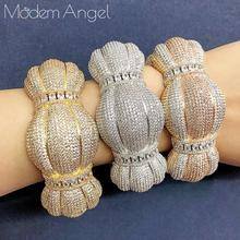 ModemAngel Luxury Big Delicate Bangle Ring Set For Women Full Micro Cubic Zircon Pave Party Wedding Saudi Arabic Dubai Jewelry S