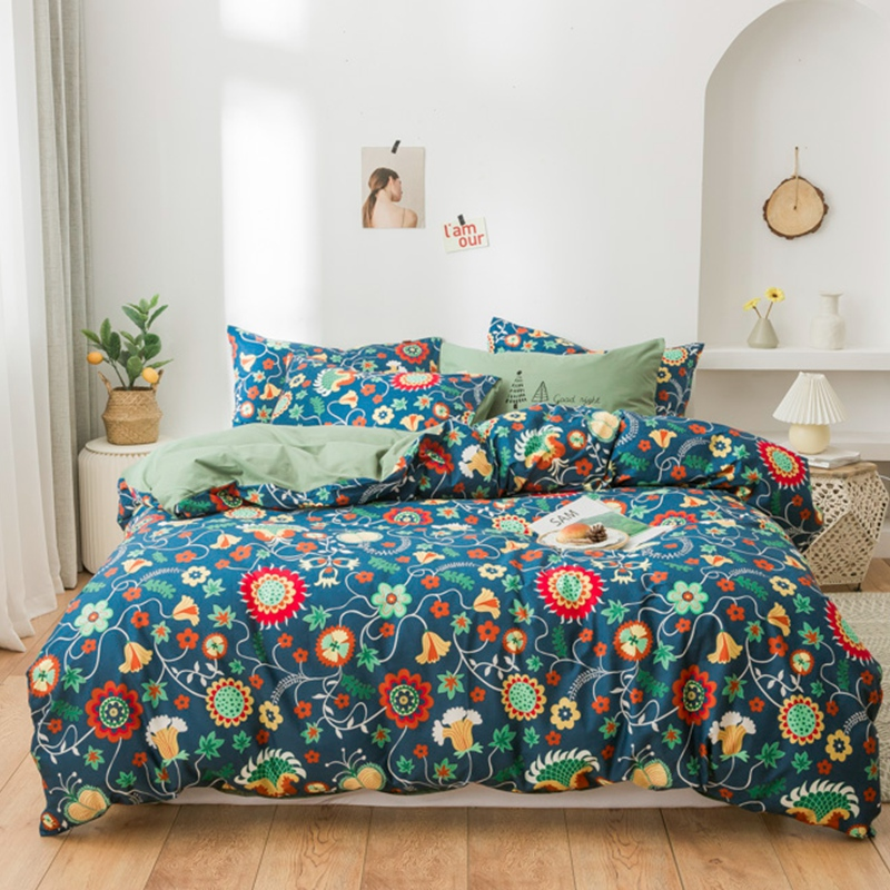 Botanical Floral Duvet Cover Sets 100%Cotton Soft Bedding Comforter Quilt Cover Bed Sheet Set Pillow Shams Twin Queen King Size