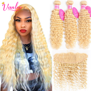 Vanlov 613 Blonde Bundles With Frontal Brazilian Deep Wave Human Hair Bundles With Closure 13*4 Lace Frontal With Bundles Remy