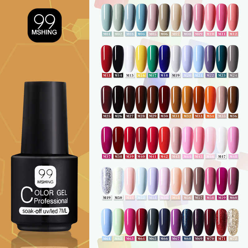 Mshing99 Gel Polandia Mengatur Semua Untuk Manikur Semi Permanen Pernis top coat UV LED Gel Varnish Soak Off Nail Art gel Cat Kuku