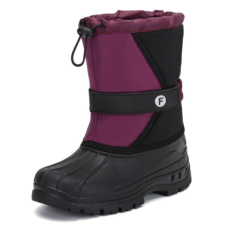 Winter Boys Girls Boots Warm Plush Kids Boots Outdoor Cotton Shoes Children Waterproof Snow Boots Mid-Calf Botas Tenis Infantil