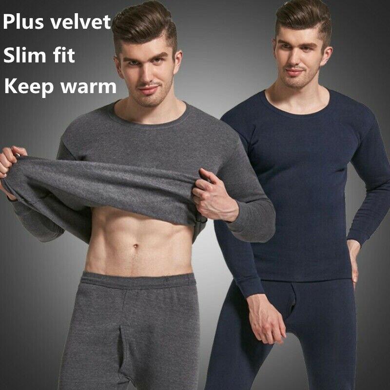 Men Seamless Elastic Warm Velvet Inner Wear Thermals Underwear Pajama Set For Home IK88