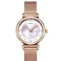 Luxury Brand ROSDN 6 mm Ultra thin Women's Watches Japan Quartz Movement Sapphire Watch Lady 50M Waterproof Diamond Watch R3228