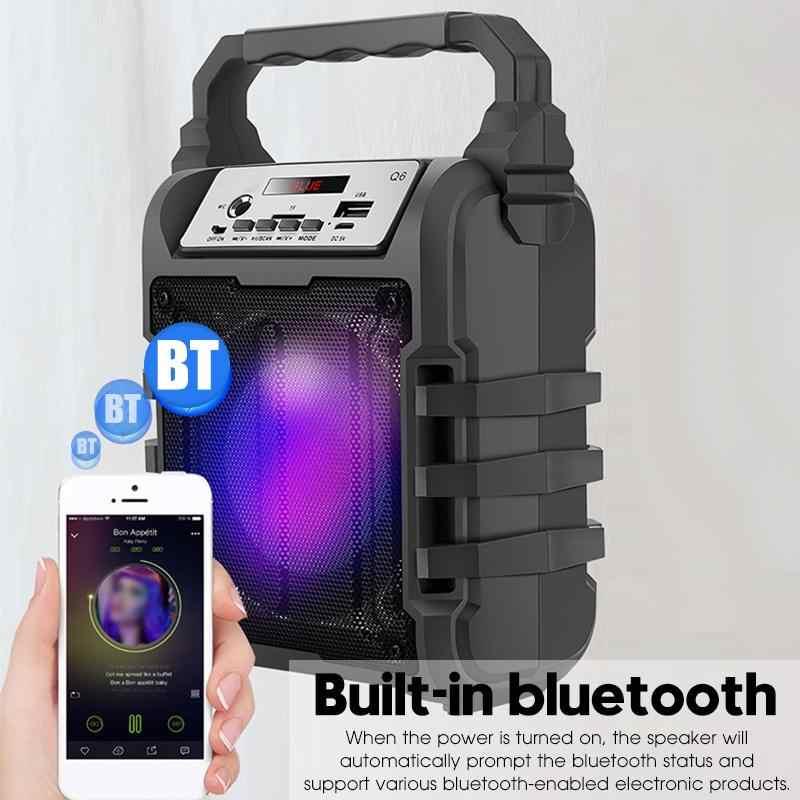 ポータブルカラオケスピーカー 3D ワイヤレス bluetooth スピーカーシステム低音サブウーファーマイクサポートハンズフリー/USB/TF カード /AUX/FM