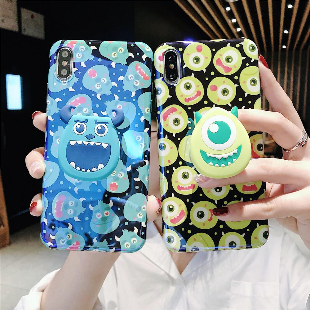 Image 2 - Funny Cartoon Cute Lovely Monster Dots Phone Case For iPhone X 8 7 6 6s plus XS 11 Pro Max XR Grip Holder Stand Back Cover Coque-in Fitted Cases from Cellphones & Telecommunications