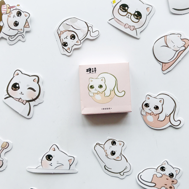 45pcs/Pack Cute Big Eyes Cat Paper Stickers Scrapbooking DIY Diary Album Stick Label