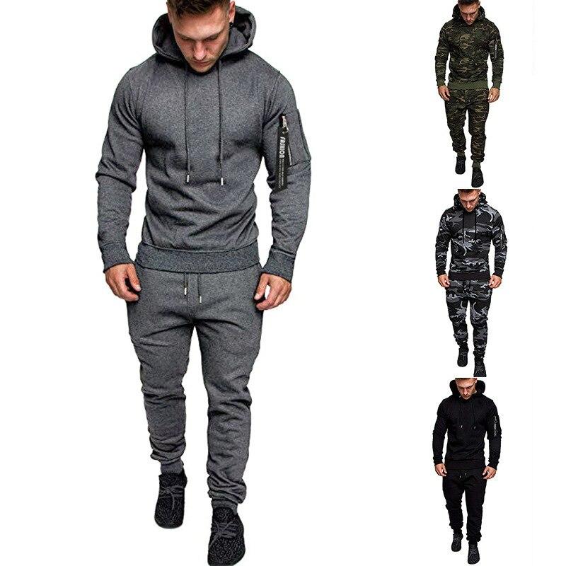 Men European Size Leisure Zipper Jumpsuit Even Hat Pure Color Joker Motion Trousers Suit Fitness Hoodie Tracksuits 2Pcs Sets