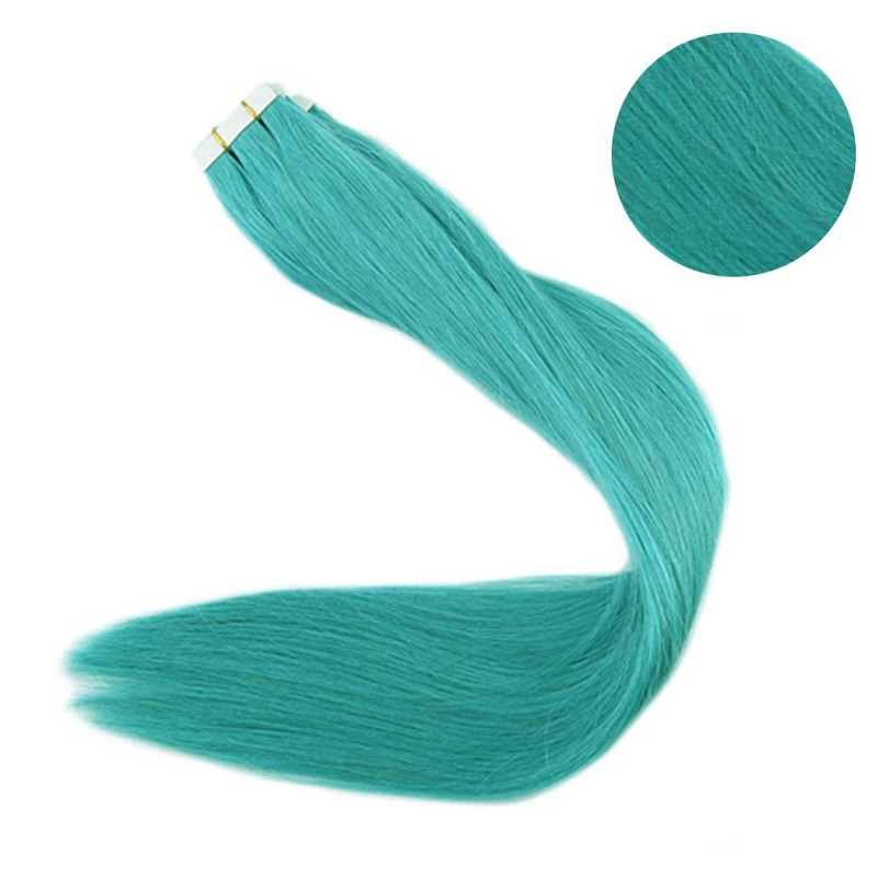 Full Shine Color #Blue 10 Pieces 25G Per Package Pu Tape in 100% Real Remy Human Hair Extensions Glue on