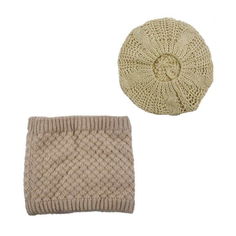 2 Pcs Beige Winter Warmers: 1 Pcs Ladies Warmer Knitted Beret Braided Ski Cap Baggy Beanie Crochet Hat & 1 Pcs Warm Knitted Scar