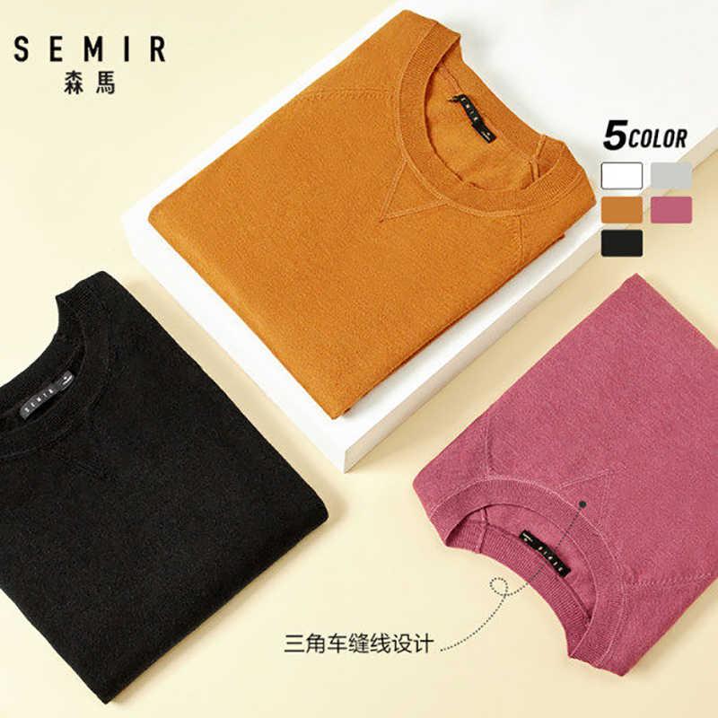 SEMIR 새로운 브랜드 양모 스웨터 남자 2019 가을 패션 긴 소매 니트 풀오버 남자 캐시미어 스웨터 고품질의 옷