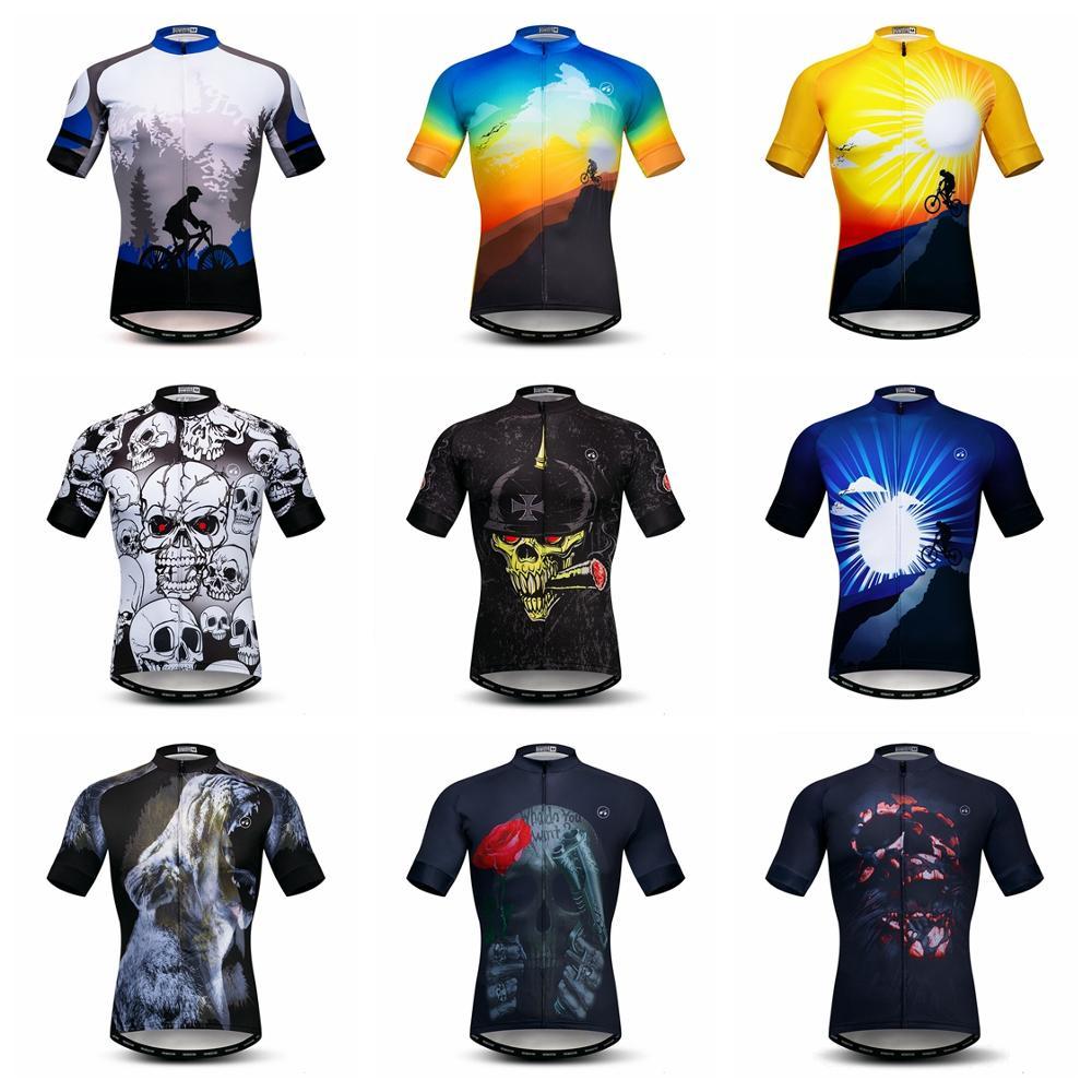 2020 Cycling Jersey Men's Bike Jerseys Mountain Road MTB Shirts Short Sleeve Maillot Ciclismo Top Summer Bicycle Clothing Skull
