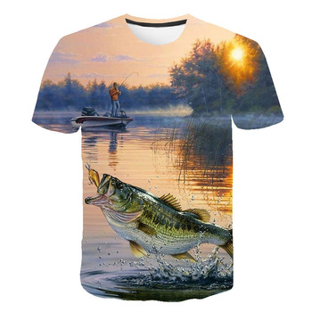 2019 New  Mens t-shirt HD digital casual 3D fish print T-shirt mens O-neck fun new fishing Dropship