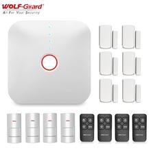 Wolf Guard 2,4G Wifi Wireless Smart Home Alarm System Haus Sicherheit Einbrecher DIY Kit APP Control PIR Motion detektor Sensor