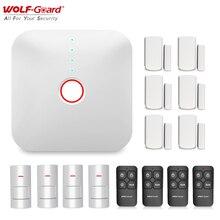 Wolf Guard 2.4G Wifi kablosuz akıllı ev Alarm sistemi ev güvenlik hırsız DIY kiti APP kontrol PIR hareket dedektörü sensörü