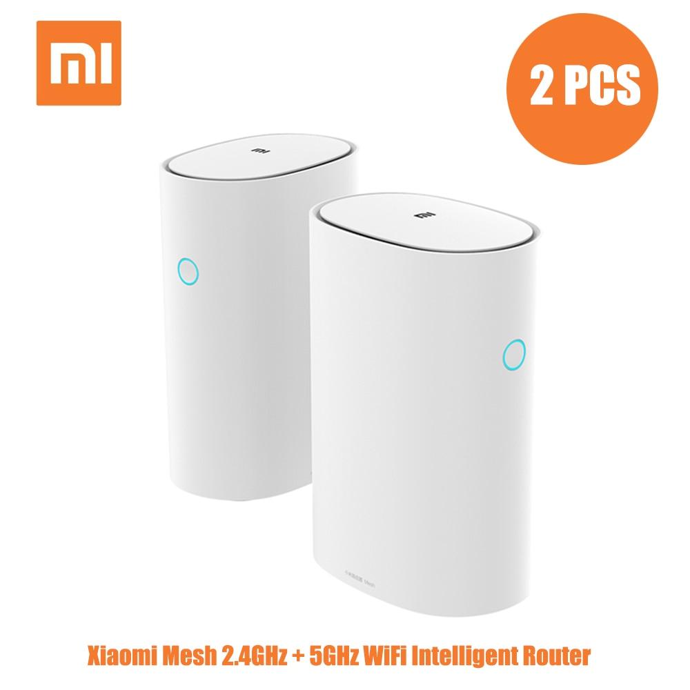 2 Pcs Xiaomi Mesh 2.4+5GHz WiFi Smart Router AC1300+1000M LAN+1300M Power Line Qualcomm DAKOTA 4 Core 4 Signal Amplifiers