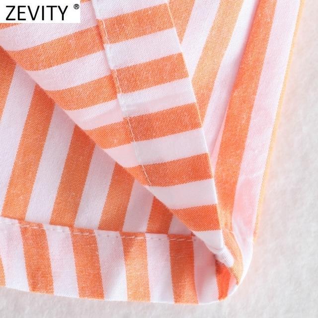 Zevity Women Fashion Patchwork Striped Print Casual Hot Bermuda Shorts Female Chic Elastic Waist Summer Pantalone Cortos P1086 4