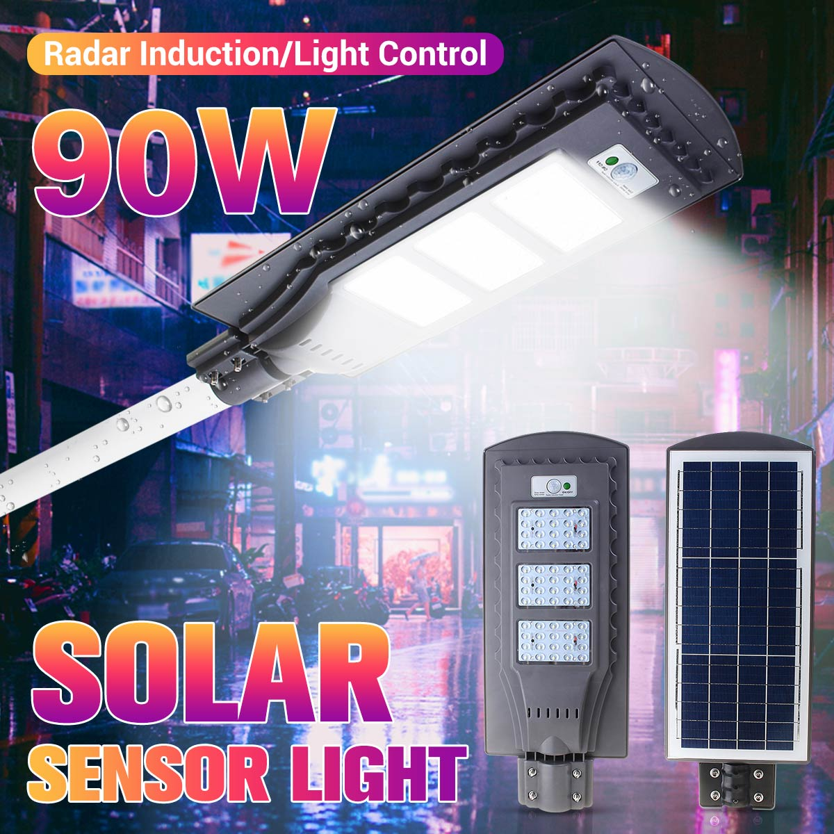 90W Solar Street Light with Radar PIR Motion Sensor Light Activated Wall Path Lamp Light Control Outdoor Street Lighting
