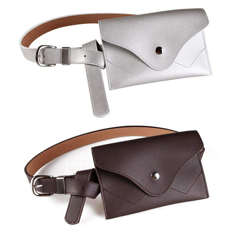 2Pcs Women Fanny Pack, PU Leather Fanny Pack With Removable Belt Waist Pouch Fashion Girls Belt Bum Fanny Bag Coffee & Silver