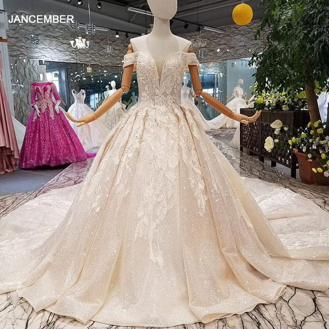 LS014478 shiny wedding gown with glitter sweetheart off shoulder lace up v back from real factory abito da sposa corto