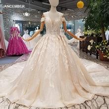 LS014478 מבריק שמלת כלה עם נצנצים מתוקה כבוי כתף תחרה עד v בחזרה ממפעל אמיתי abito דה sposa קורטו