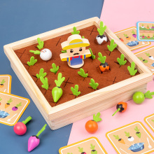 Kids Montessori Wooden Toy Baby Pull Carrot Shape Matching Color Size Cognitive Puzzle Early Learning Education Toy For Children