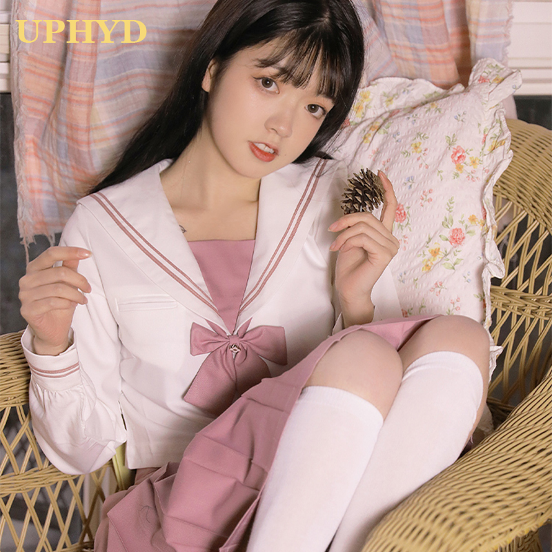 UPHYD Pink Flower Embroidery White Shirt And Pink Skirt Suits Student Cosplay JK School Uniforms For Girl Sailor Uniform Sets