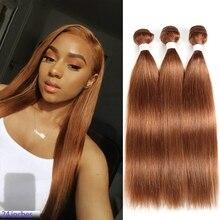Bundles Weave Human-Hair-Extensions Straight -30 3pcs Silky Dark-Blonde Remy 100%European