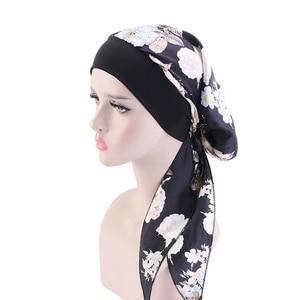 Image 3 - Women Printed Silky Turban Muslim Pre Tied Hijabs Long Tail Bow Head Scarf Ready To Wear Wide Band Elastic Bandana Headwear