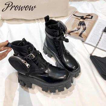 Prowow New Black Genuine Leather Lace Up Ankle Boots Buckle Strap Matching Small Pocket Autumn Winter Shoes Women