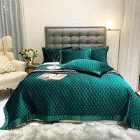CHAUSUB Luxury Silky Velvet Quilt Sets and Shams 3 piece Solid Quilted Bedspread Bed Cover Sheets Full Queen Size Coverlet Set