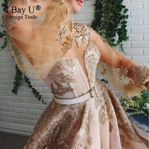 Image 2 - Szampana koronki z koralikami suknia wieczorowa 2020 Puffy rękawem cekiny tiul formalna suknia wieczorowa otwarcie nogi linii