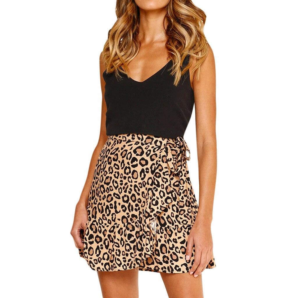 Womens Bud Skirts Mini Casual Skirts Retro High Waist Leopard Sexy Skirt Evening Party Short Print Skirt d2