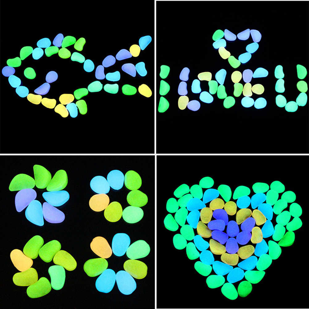 50Pcs Aquarium Glow in the Dark Pebbles Luminous Stone Garden Walkways Decor It can be used repeatedly, their life expectancy
