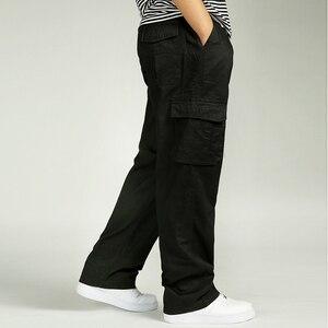 Image 2 - الرجال بناطيل كاجوال وزرة القطن مرونة الخصر كامل لين متعددة جيب زائد الأسمدة XL ملابس للرجال السراويل البضائع كبيرة الحجم