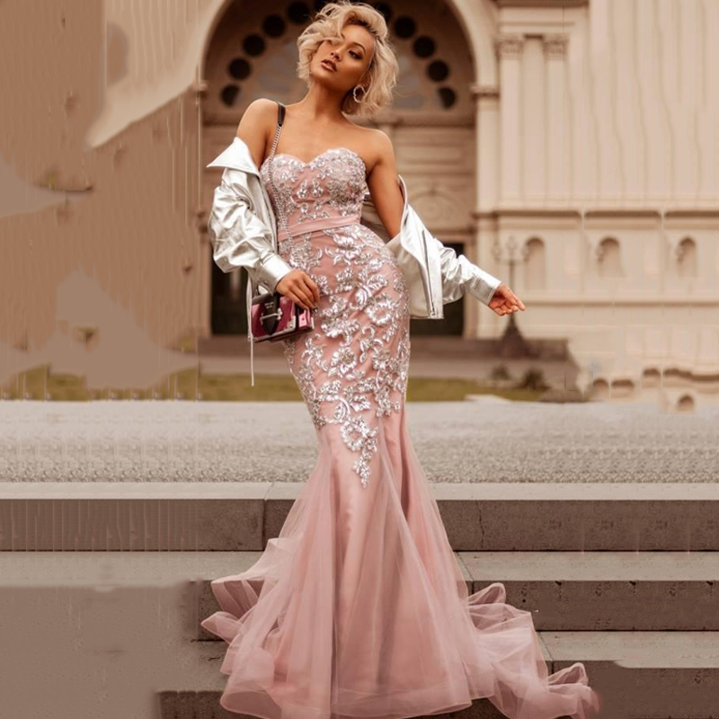 Eightree 2020 Gorgeous Pink Mermaid Evening Dresses Sexy Backless Sweetheart Long Prom Party Gowns Sequin Appliques Formal Dress