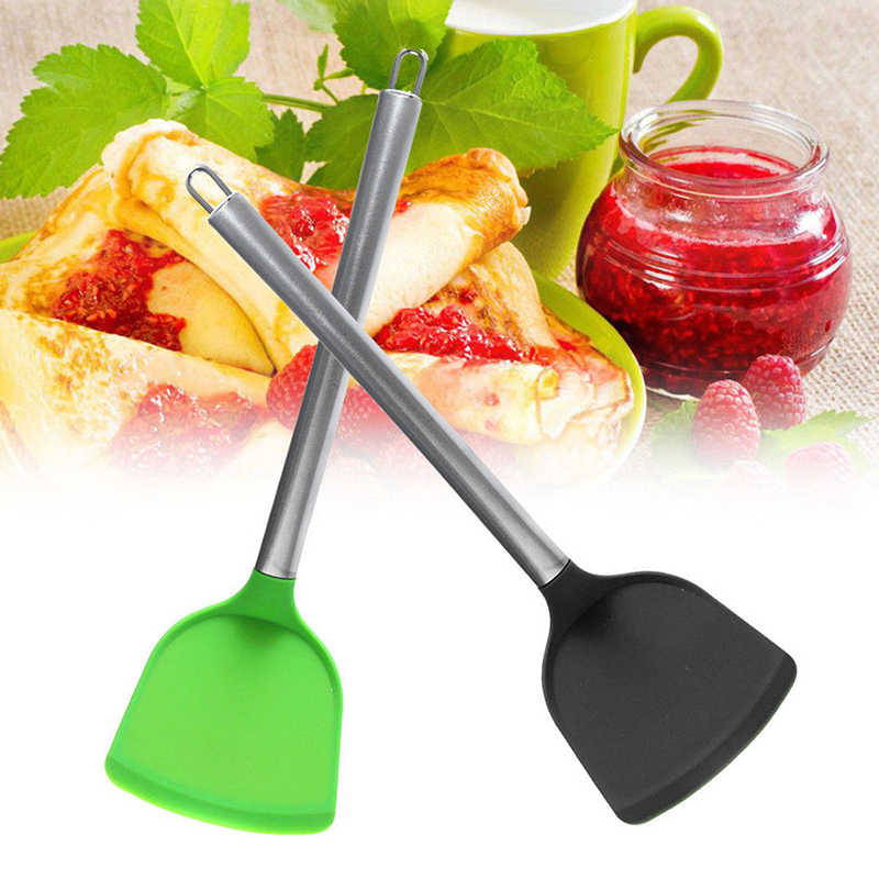Novo verde/preto grau alimentício espátula de silicone não vara espátula panqueca omeletes fatia turner utensílios de cozinha