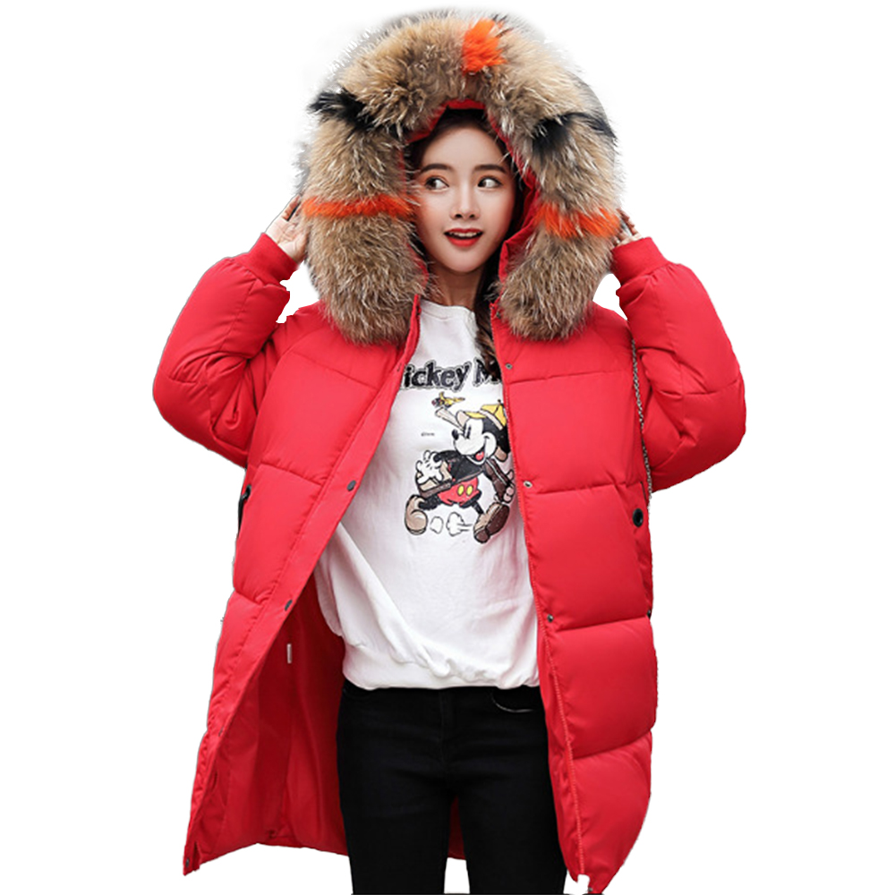 Winter Coat Women Cotton Clothing Womens New Thick Down Padded Fur Collar Clothes