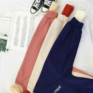 Image 5 - נים נשים טלאי גולף עבה חורף להאריך ימים יותר הסווטשרט קוריאני חדש Streetwear נשים מזדמנים בסוודרים מכתב ארוך שרוול