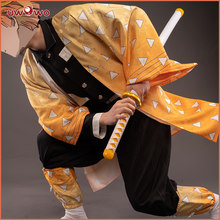 Uwowo novo design demônio slayer: kimetsu não yaiba agatsuma zenitsu cosplay traje demônio matando corpo uniforme homem