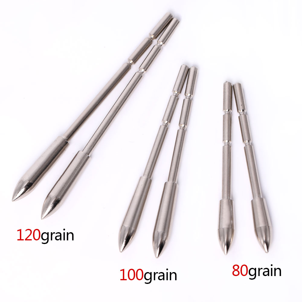 12pcs Archery Arrow Head Stainless Steel Insert Arrow Point  80-120 Grains for ID3.2mm Shaft