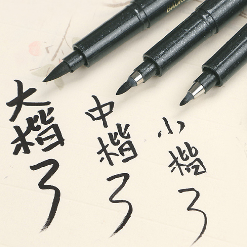 3Pcs Different Nib Felt Tip Calligraphy Pen Chinese Word Writing Home Office School Art Craft Painting Refillable Black Ink Pens