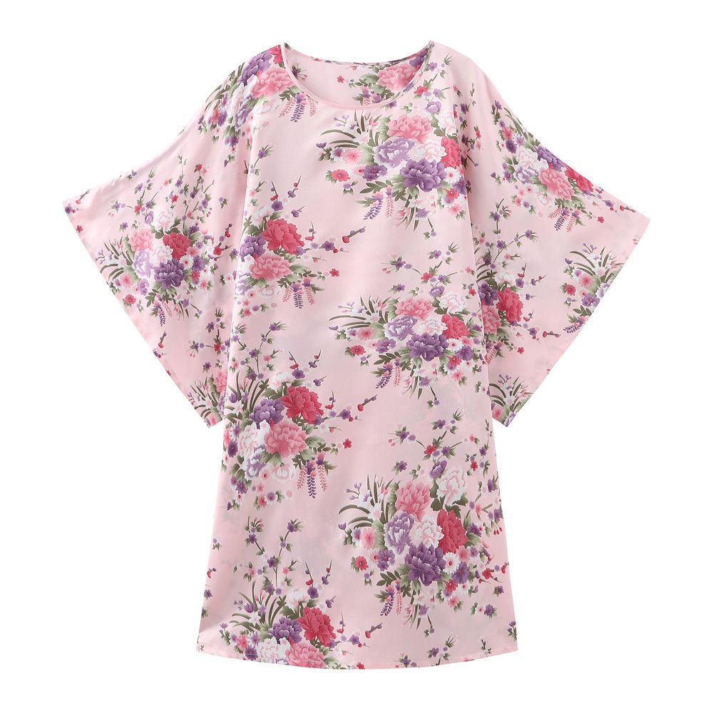 Pink Chinese Women Silky Rayon Nightgown Sexy Short Robe Dress Summer Casual Bathrobe Gown Sleepwear Printed Flower Lingerie