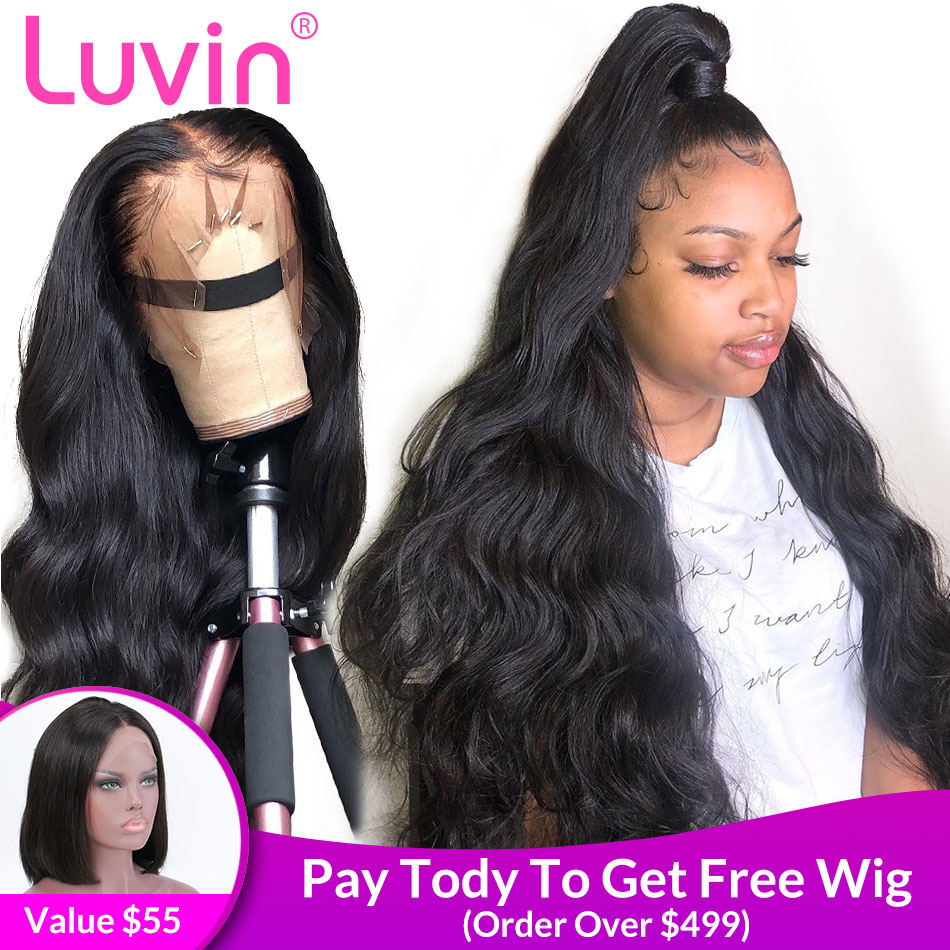 Luvin 360 Lace Frontal Wigs Pre Plucked With Baby Hair Brazilian Body Wave Human Hair 250 Density 13x6 Front Wig 28 30 Inch